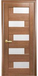Межкомнатные двери Пиана со стеклом сатин, ПВХ DeLuxe Золотая ольха