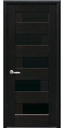 Межкомнатные двери Пиана с черным стеклом, ПВХ DeLuxe Венге new