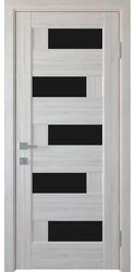 Межкомнатные двери Пиана с черным стеклом, ПВХ DeLuxe Ясень New
