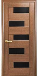 Межкомнатные двери Пиана с черным стеклом, ПВХ DeLuxe Золотая ольха