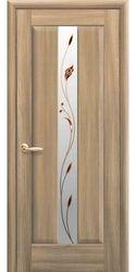 Межкомнатные двери Премьера со стеклом сатин и рисунком, ПВХ DeLuxe Золотой дуб
