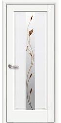 Межкомнатные двери Премьера со стеклом сатин и рисунком Р1, Premium Белый матовый