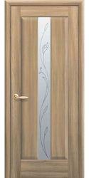 Межкомнатные двери Премьера со стеклом сатин и рисунком Р2, ПВХ DeLuxe Золотой дуб