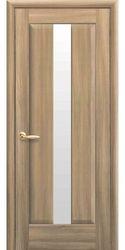 Межкомнатные двери Премьера со стеклом сатин, ПВХ DeLuxe Золотой дуб