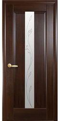 Межкомнатные двери Премьера со стеклом сатин и рисунком Р2, ПВХ DeLuxe Каштан
