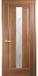Межкомнатные двери Премьера со стеклом сатин и рисунком Р2, ПВХ DeLuxe Золотая ольха