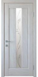 Межкомнатные двери Премьера со стеклом сатин и рисунком Р2, ПВХ DeLuxe Ясень New