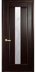 Межкомнатные двери Премьера со стеклом сатин и рисунком Р2, ПВХ DeLuxe Венге new