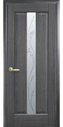 Межкомнатные двери Премьера со стеклом сатин и рисунком, ПВХ DeLuxe Серый