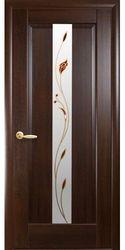Межкомнатные двери Премьера со стеклом сатин и рисунком Р1, ПВХ DeLuxe Каштан