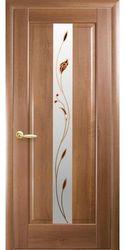 Межкомнатные двери Премьера со стеклом сатин и рисунком Р1, ПВХ DeLuxe Золотая ольха