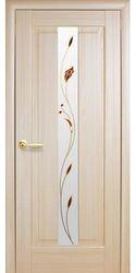 Межкомнатные двери Премьера со стеклом сатин и рисунком, ПВХ DeLuxe Ясень