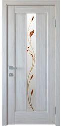 Межкомнатные двери Премьера со стеклом сатин и рисунком Р1, ПВХ DeLuxe Ясень New