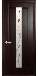 Межкомнатные двери Премьера со стеклом сатин и рисунком Р1, ПВХ DeLuxe Венге new