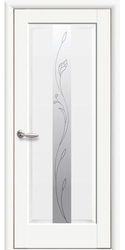 Межкомнатные двери Премьера со стеклом сатин и рисунком Р2, Premium Белый матовый