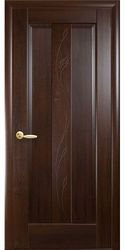 Межкомнатные двери Премьера глухое с гравировкой, ПВХ DeLuxe Каштан