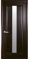 Межкомнатные двери Премьера со стеклом сатин, ПВХ DeLuxe Каштан