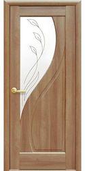 Межкомнатные двери Прима со стеклом сатин и рисунком Р2, ПВХ DeLuxe Золотая ольха