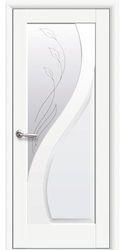Межкомнатные двери Прима со стеклом сатин и рисунком, Premium Белый матовый
