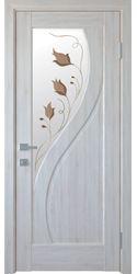 Межкомнатные двери Прима со стеклом сатин и рисунком Р1, ПВХ DeLuxe Ясень New