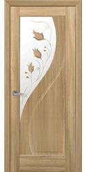 Межкомнатные двери Прима со стеклом сатин и рисунком Р1, ПВХ DeLuxe Золотой дуб