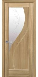 Межкомнатные двери Прима со стеклом сатин и рисунком Р2, ПВХ DeLuxe Золотой дуб