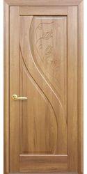 Межкомнатные двери Прима глухое с гравировкой, ПВХ DeLuxe Золотая ольха