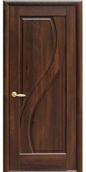 Межкомнатные двери Прима глухое с гравировкой, ПВХ DeLuxe Каштан