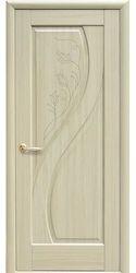Межкомнатные двери Прима глухое с гравировкой, ПВХ DeLuxe Ясень