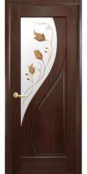 Межкомнатные двери Прима со стеклом сатин и рисунком Р1, ПВХ DeLuxe Каштан