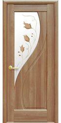Межкомнатные двери Прима со стеклом сатин и рисунком Р1, ПВХ DeLuxe Золотая ольха
