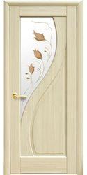 Межкомнатные двери Прима со стеклом сатин и рисунком, ПВХ DeLuxe Ясень