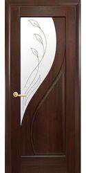 Межкомнатные двери Прима со стеклом сатин и рисунком, ПВХ DeLuxe Каштан