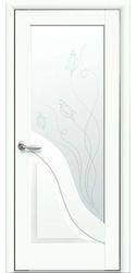 Межкомнатные двери Амата со стеклом сатин и рисунком Р2, Premium Белый матовый