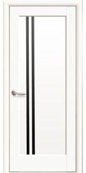 Межкомнатные двери Делла с черным стеклом, Premium Белый матовый