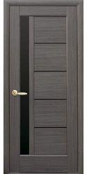 Межкомнатные двери Грета с черным стеклом, ПВХ DeLuxe Серый