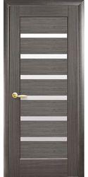 Межкомнатные двери Линнея со стеклом сатин, ПВХ DeLuxe Серый