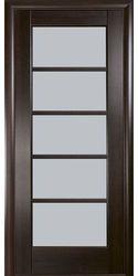 Межкомнатные двери Муза со стеклом сатин, ПВХ DeLuxe Каштан