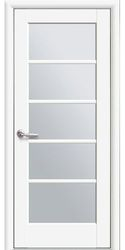 Межкомнатные двери Муза со стеклом сатин, Premium Белый матовый