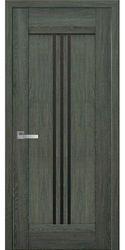 Межкомнатные двери Рейс с черным стеклом, Нано Флекс Дуб графит
