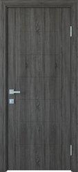 Межкомнатные двери Рина глухое с гравировкой, ПВХ DeLuxe Грей New