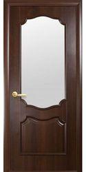 Межкомнатные двери Рока со стеклом сатин, ПВХ DeLuxe Каштан