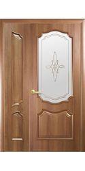 Двойные межкомнатные двери Рока со стеклом сатин и рисунком, ПВХ DeLuxe Золотая ольха