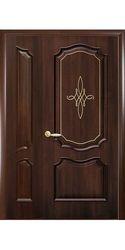 Двойные межкомнатные двери Рока глухое с гравировкой, ПВХ DeLuxe Каштан