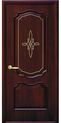 Межкомнатные двери Рока глухое с гравировкой Gold, ПВХ DeLuxe Каштан