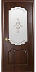 Межкомнатные двери Рока со стеклом сатин и рисунком, ПВХ DeLuxe Каштан