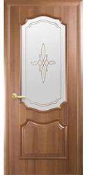 Межкомнатные двери Рока со стеклом сатин и рисунком, ПВХ DeLuxe Золотая ольха