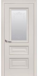 Межкомнатные двери Статус Со стеклом сатин, молдингом и рисунком , Premium Магнолия