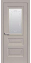 Межкомнатные двери Статус Со стеклом сатин, молдингом и рисунком , Premium Капучино