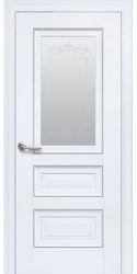 Межкомнатные двери Статус Со стеклом сатин, молдингом и рисунком , Premium Белый матовый